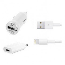 Cargador 3 en 1 Coche/Red/USB para Iphone 5 6