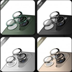 Cristal camara completa con marco iPhone 11 Pro 11 Pro Max 3 unidades negro