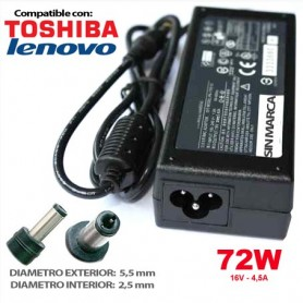 CARGADOR PORTATIL TOSHIBA/LENOVO 16V 4.5A 72W COMPATIBLE