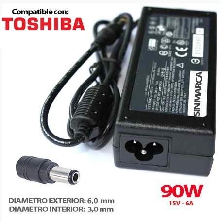 CARGADOR PORTATIL TOSHIBA 15V 6A 90W 6.3x3.0 COMPATIBLE