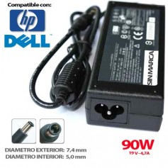 CARGADOR PORTATIL HP/DELL 19V 4.7A 90W 7.4x5.0 COMPATIBLE