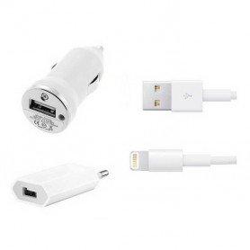Cargador 3 en 1 Coche/Red/USB para Iphone 5 6 7 8