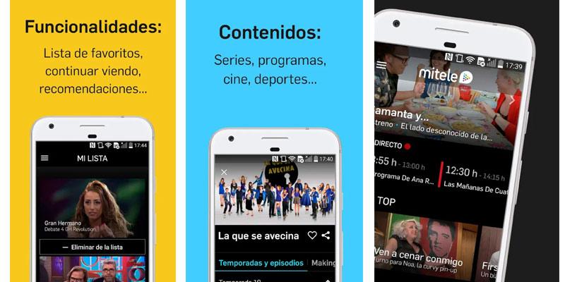 Mitele apps para ver la tele en android